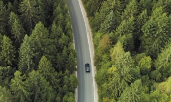 A view from the sky of a car in a road trough a forest